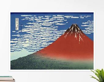 "Hokusai, ""South Wind, Clear Sky"". Art poster, art print, rolled canvas, art canvas, wall art, wall decor"