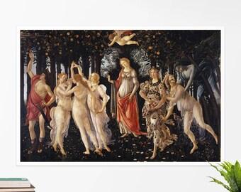"Sandro Botticelli, ""Primavera"". Art poster, art print, rolled canvas, art canvas, wall art, wall decor"