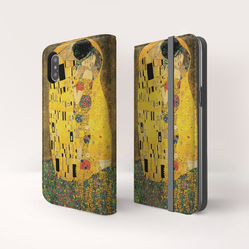 Gustav Klimt The Kiss iPhone 12 Mini Pro Max wallet case iPhone Xs Max flip case iPhone Xr folio case iPhone SE wallet case Wc-GKL-08
