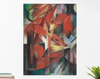 "Franz Marc, ""The Foxes"". Art poster, art print, rolled canvas, art canvas, wall art, wall decor"