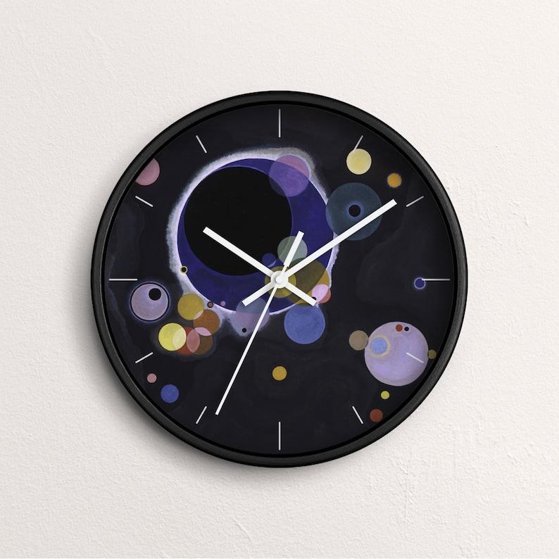 Vasily Kandinsky Several Circles Wall Clock Fine Art Clock Black Wooden Frame CL-VKA-02