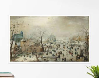 "Hendrick Avercamp, ""Winter Landscape with Skaters"". Art poster, art print, rolled canvas, art canvas, wall art, wall decor"