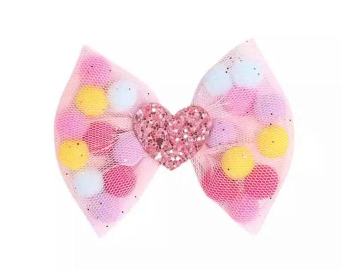 Mesh Pom Pom bow clip