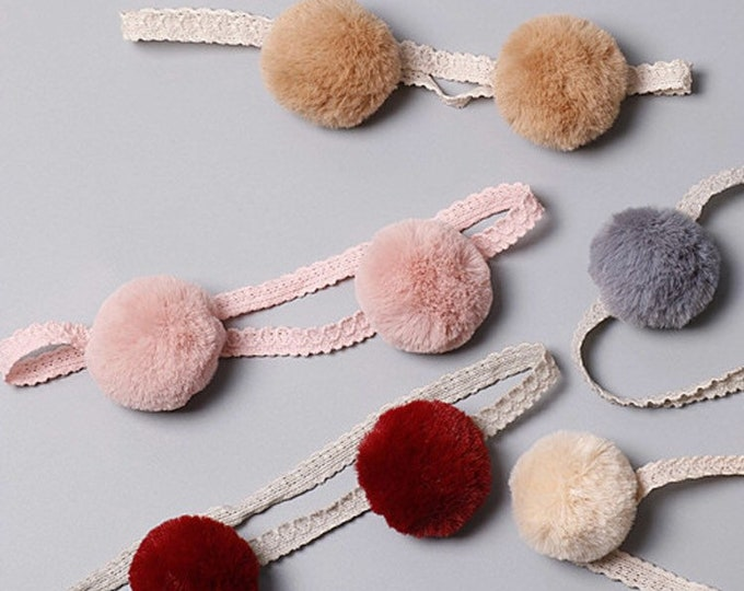 Pom pom headband, pom pom, bear ears head band, baby beadband, pom-pom headband.