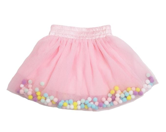 Pink tutu, pink pom pom tutu, pom Pom skirt, pom pom, pom-pom skirt