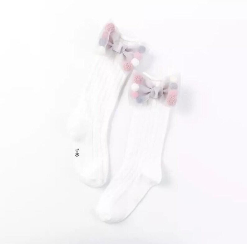 girls socks tights pom pom socks bow . socks with bow Socks