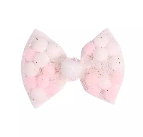 Pom Pom hair bow, pom pom bow, pom pom hair clip, hair clip.