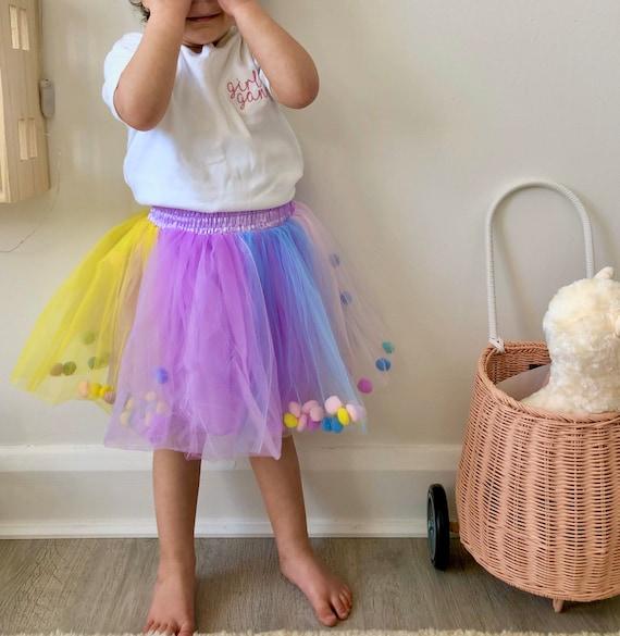 Rainbow tutu, Rainbow Pom Pom tutu, Rainbow skirt, pom pom tutu, Pom Pom Skirt.