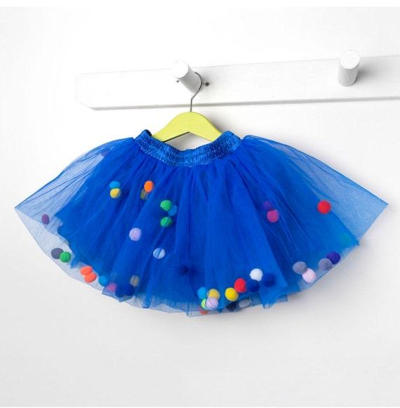 Blue Pom Pom tutu, Pom Pom skirt.