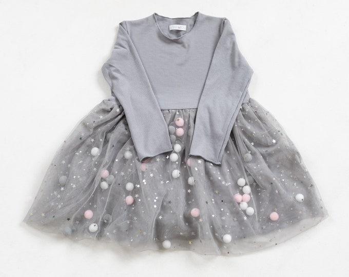 Grey Pom Pom dress