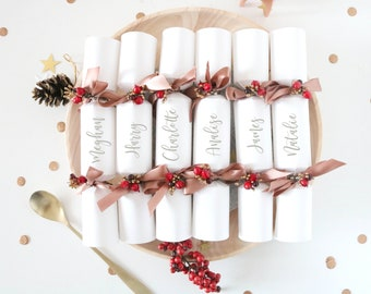 christmas party crackers personalised set of 6 mini crackers christmas table party decor contains gifts crown and joke christmas gift