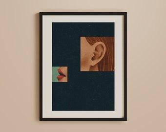 Minimal Art Print, Listen More Talk Less, Mindfulness Poster, Psychology, Positive, Connection, Vintage, Art Deco, Retro, Boho, Bohemian Art