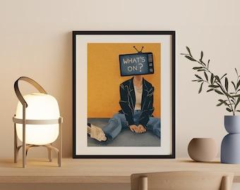 Mindfulness Art Print, what's on, TV & Media, Psychology art, Presence, Society, Retro, Boho Poster, Bohemian Art