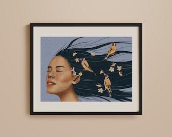 Birds Print Poster, Spring, Summer, Nature Lover, Cherry Blossom, Flowers, Female Portrait, Retro, Vintage, Boho, Bohemian Art