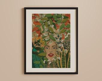Botanical Art Print, One with Universe,Natural Poster, Mindfulness, Jungle, Connection to nature, Vintage, Jungle, Retro, Boho, Bohemian Art