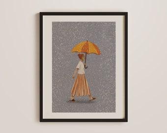 Positive Optimist Print, Mindfulness Poster, Warm, Sunny, Rain, Ginger hair, Vintage, Good vibes, Retro, Boho, Bohemian Art