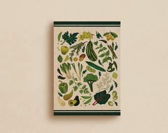 Vintage Kitchen Print, Eat your Greens Poster, Kitchen art, Healthy lifestyle, Vegan art, Vegetarian art, Eat Veg, Retro style poster