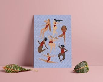 Body Positivity Art, Feminine Curve, Summer Art Print, Poster, Empowerment, Female, Beach, Swimwear, Figurative, Retro, Boho, Bohemian Art