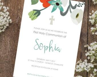 First Communion Invitation / Confirmation Invitation / Floral invite / Personalised invitation / Delicate invite Digital file only - F2