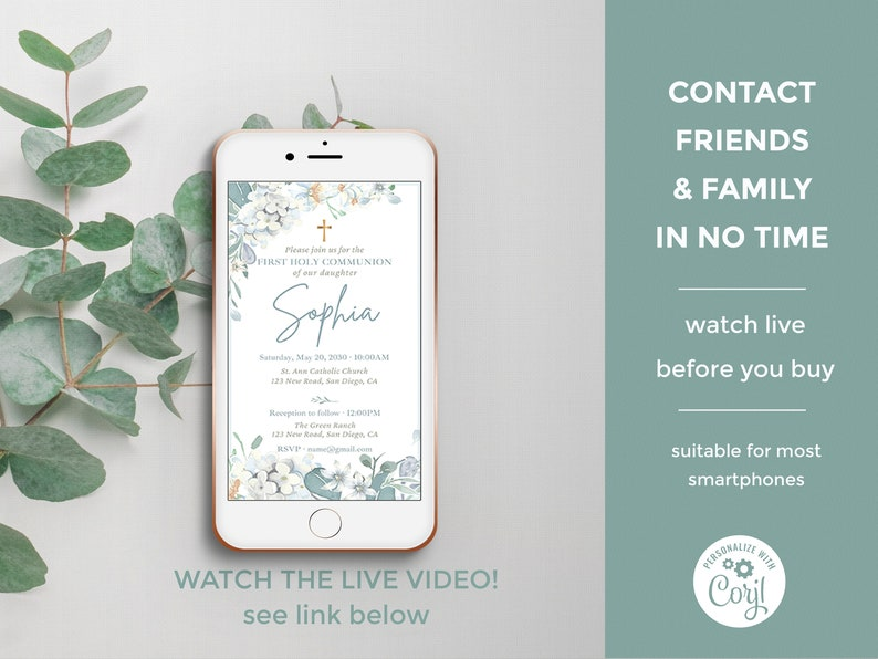 video invitation for first communion smartphone announcement- CF34 Electronic First Communion animated templates girl digital e-vite
