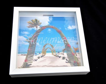 Honeymoon Fund Money Shadow Box Frame Savings Personalised Wedding Holiday