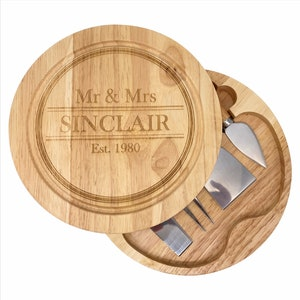 Cheese Lover Wedding Present Personalised Wooden Cheese Board /& Knives Gift Set Stocking Filler For Her Him,Mum Dad Secret Santa
