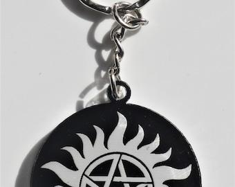 Supernatural Acrlic Keyring Anti-possession demonic possession pentagram
