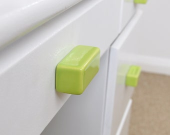 Green Lime Rectangular Ceramic Knobs, Handmade Dresser Drawer Pulls, Kitchen and Bathroom Cabinet Remodel Hardware, New Home Gift