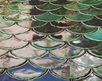 Handmade ceramic mosaic tiles, Ginkgo Biloba, Green effect glossy glaze, Green Leave tiles, Price per 121 pieces - made for order