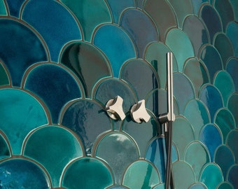 Handmade ceramic mosaic tiles, Morocco Fish Scale Ceramic Tile, Mix Turquoise and Emerald Bathroom or Kitchen Tile, Price per 89 pieces
