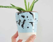 Blue Glazed Ceramic Pot, Handmade Small Flower Planter, One of a Kind Plant Container, Housewarming Gift Ideas. Made to Order