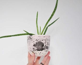 Clay Flower Pot ~ Small Clay Pot ~ Pink Clay Planter ~ Pink Splatter Pot ~
