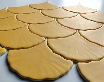 Handmade ceramic mosaic tiles, Ceramic Ginkgo Leaf Tiles ~ Matte Yellow Tiles ~ Handmade Yellow Tiles ~ Ginkgo Biloba Leaf Tiles