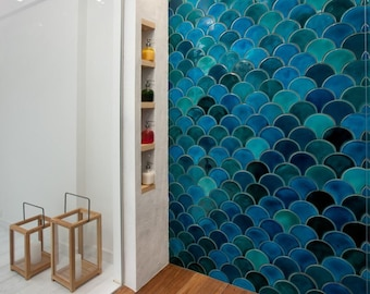 Handmade ceramic mosaic tiles, Morocco Fish Scale, Dark Mix Turquoise Crackle and Emerald Green, Price per 89 pieces = 1 m2