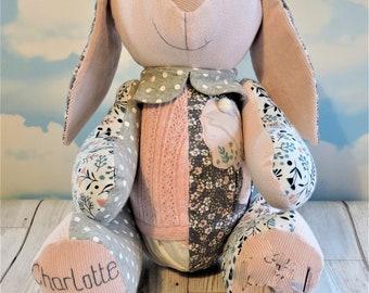 Rabbit keepsake made from baby clothes, keepsake rabbit, baby clothes bunny, bunny rabbit, first birthday gift, birth weight rabbit