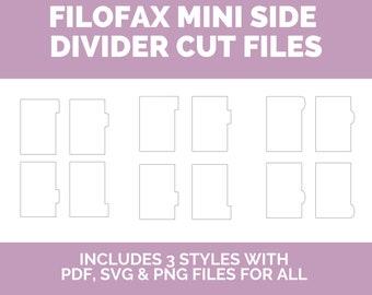 FILOFAX MINI Side Tabs - Divider Printable svg, png, pdf - INSTANT download