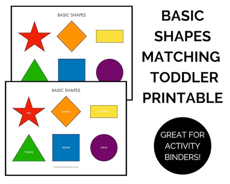 Shape Matching Game Printable Toddler Preschool Learning ...