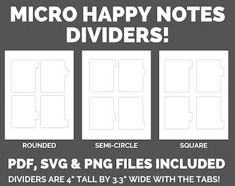 Micro Happy Planner Notes Divider Printable SVG, PNG, PDF Digital Download