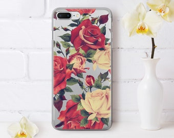 Flower iPhone 7 Case Floral iPhone 6s Plus Case iPhone 5c Case Roses iPhone 6 Phone Case iPhone 7 Plus Cases 8 Plus Rose Silicone AND1005