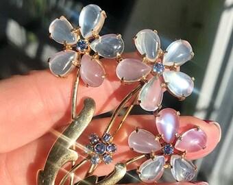 REDUCED...14k Retro c1940's Wordley Allsopp & Bliss Moonstone Sapphire Vintage Brooch Antique Pin