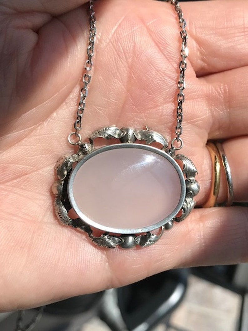 Victorian Sterling Chalcedony Silver milky agate necklace pendant antique vintage