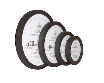 Wooden Frame Round WFN Black Real Glass   8 cm 12 cm 16 cm 20 cm 24 cm 30 cm 40 cm