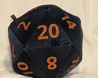 D20 Pillow - Blue Plush with Orange Glitter Numbers and hidden pocket