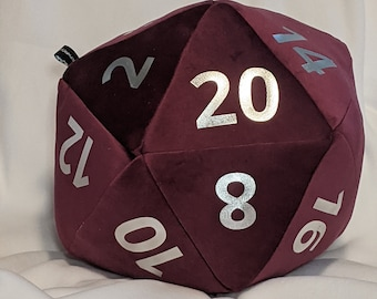 D20 Pillow - Maroon Plush with Silver Metallic Numbers and hidden pocket