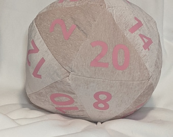 D20 Pillow - Plush Pink with Pink Numbers and Hidden Pocket
