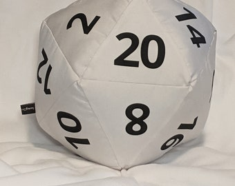 D20 Pillow - White Satin Canvas with Black Numbers and hidden pocket