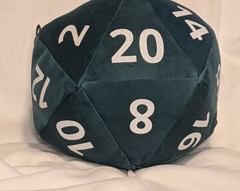 D20 Pillow - Blue Plush with Glitter Numbers and hidden pocket