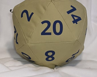 D20 Pillow - Lime Canvas with Blue Numbers and hidden pocket
