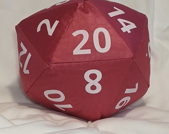 D20 Pillow - Pink Satin Dragon Skin with White Numbers and hidden pocket