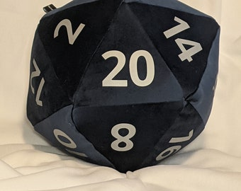 D20 Pillow - Blue Plush with Silver Numbers and hidden pocket